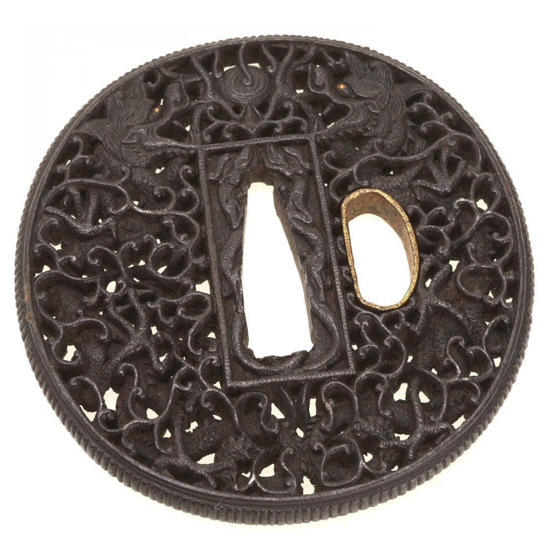(2) Antique Japanese iron Namban tsuba - 4