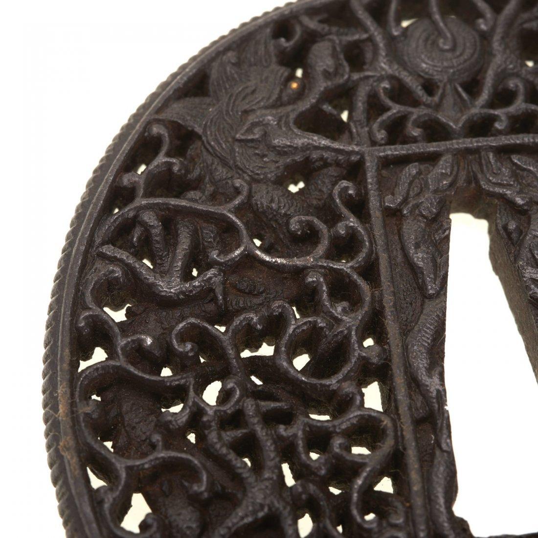 (2) Antique Japanese iron Namban tsuba - 5