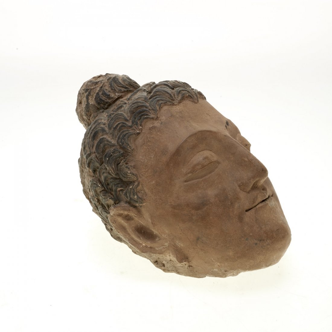 Asian polychromed stucco Buddha head fragment - 3