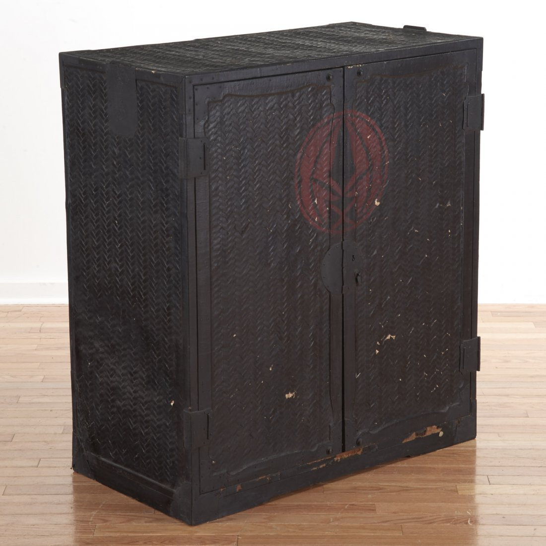 Japanese black painted rattan traveling chest