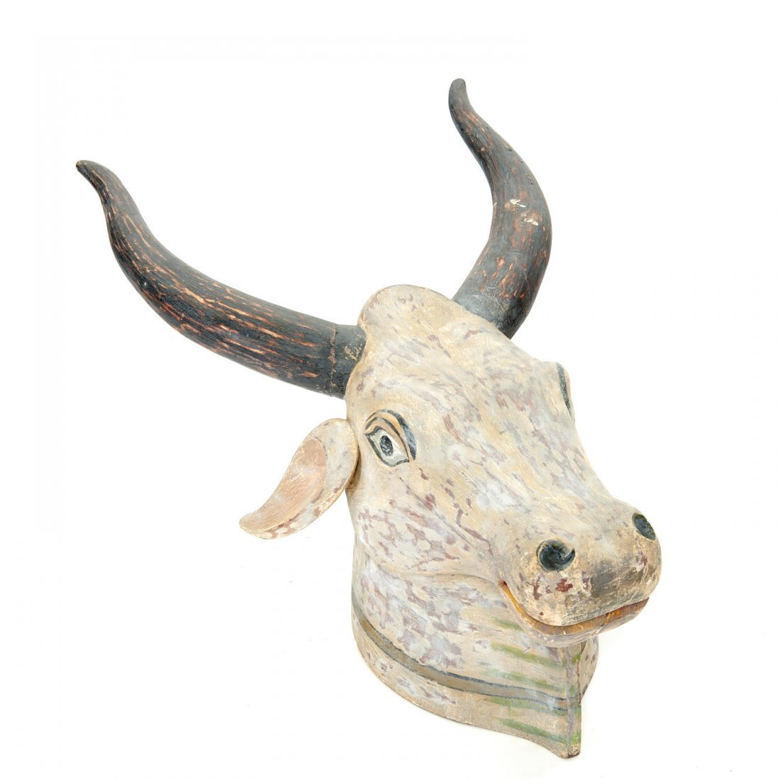 Life size Indian polychrome painted bull's head