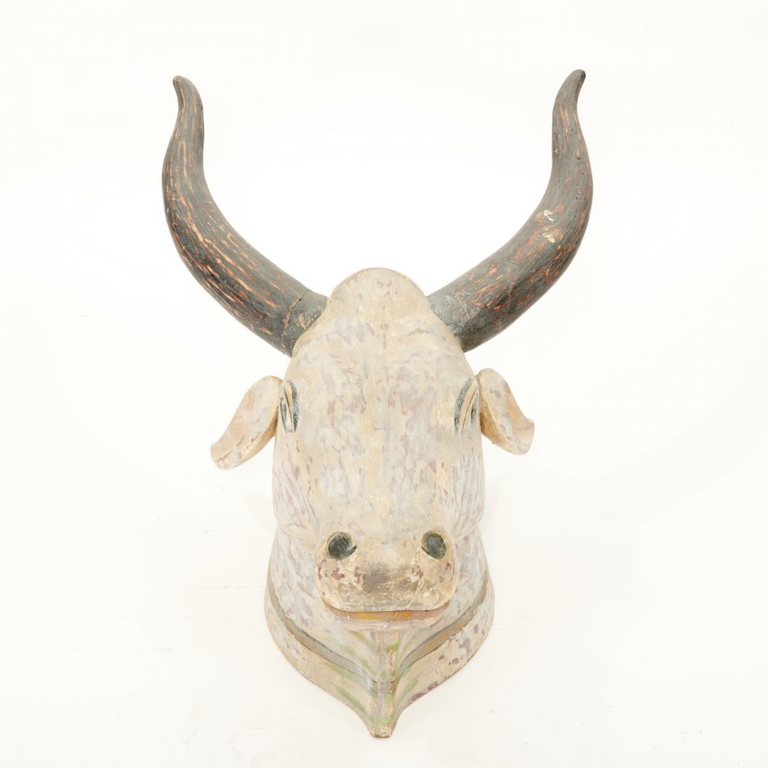 Life size Indian polychrome painted bull's head - 2
