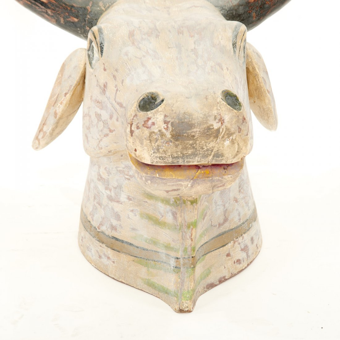 Life size Indian polychrome painted bull's head - 3