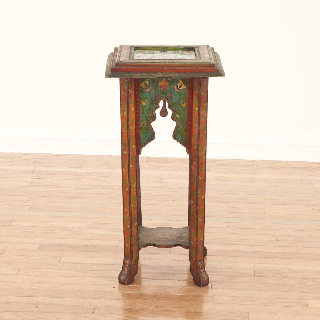 Middle Eastern polychrome tile inset pedestal - 2