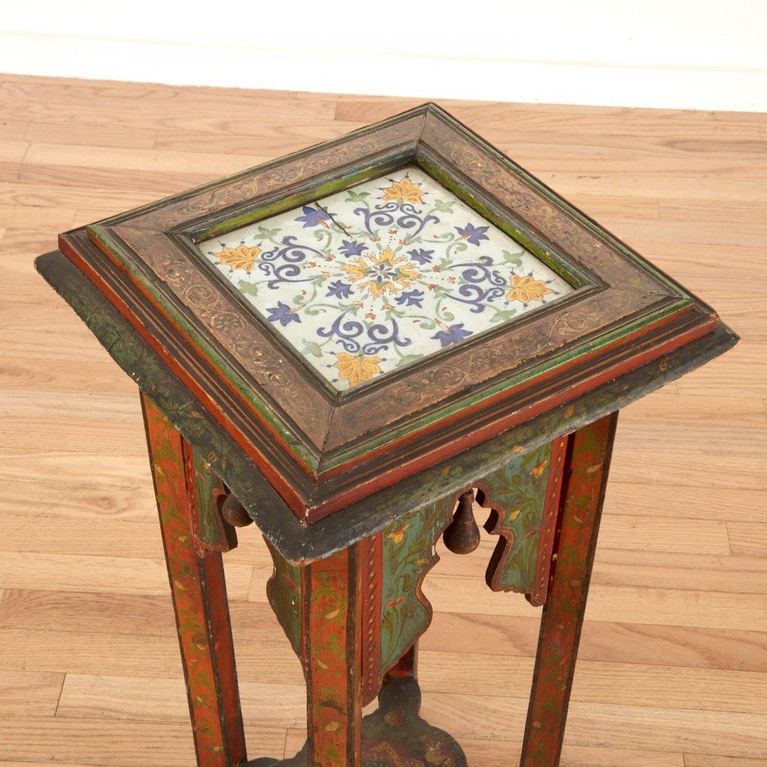 Middle Eastern polychrome tile inset pedestal - 3