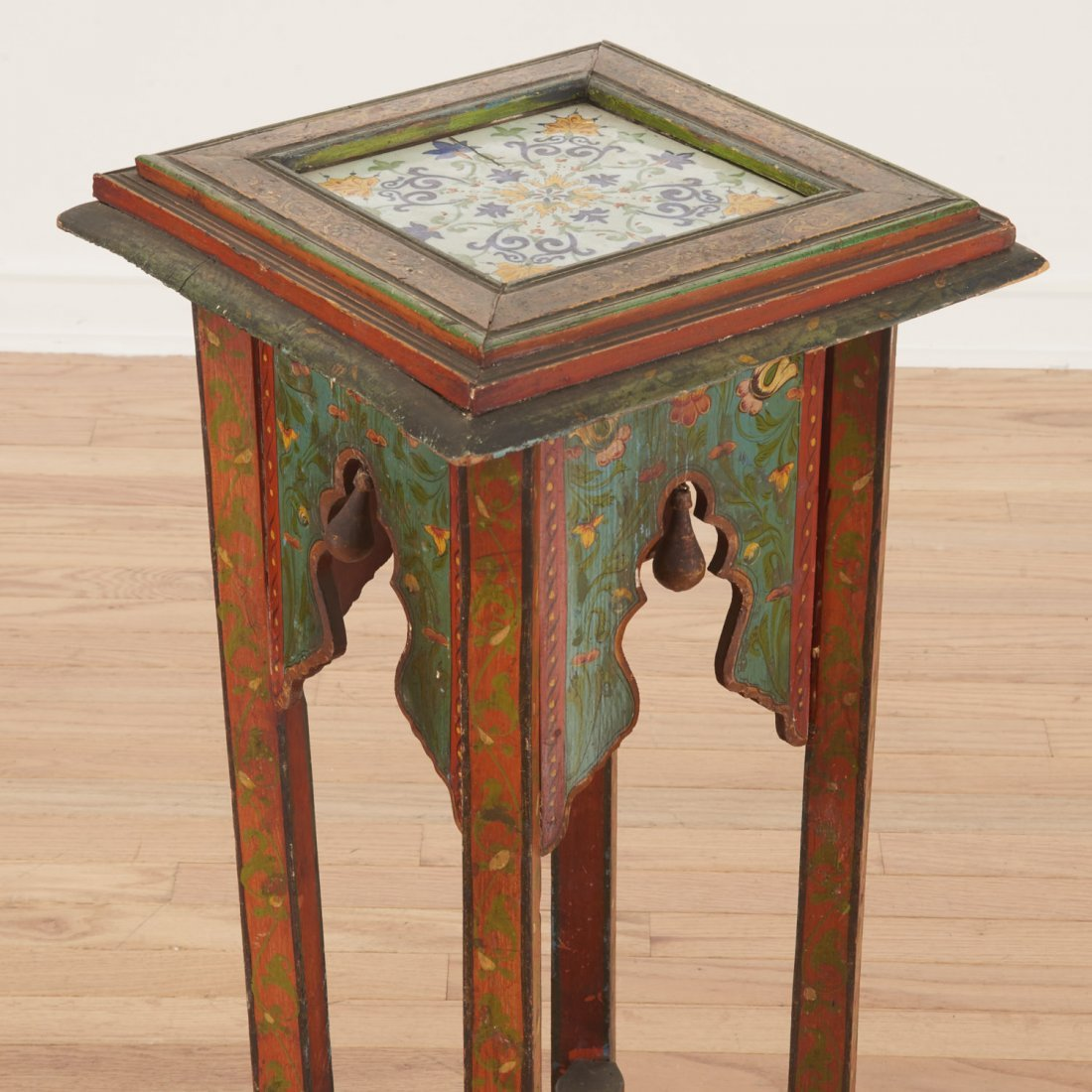 Middle Eastern polychrome tile inset pedestal - 4