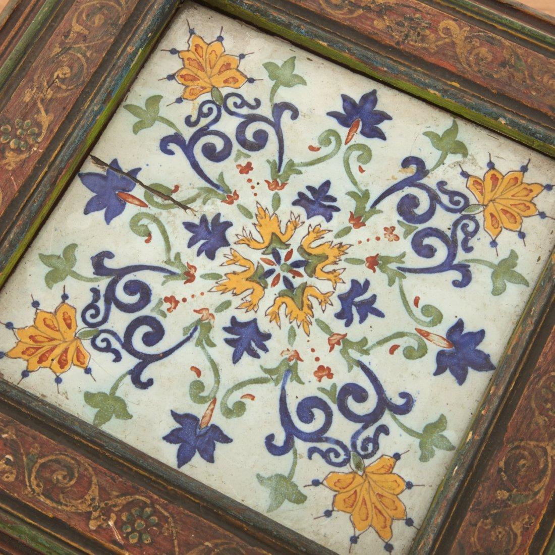 Middle Eastern polychrome tile inset pedestal - 8