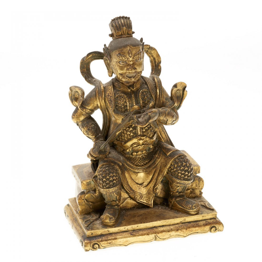 Sino-Tibetan gilt bronze Buddhist figure