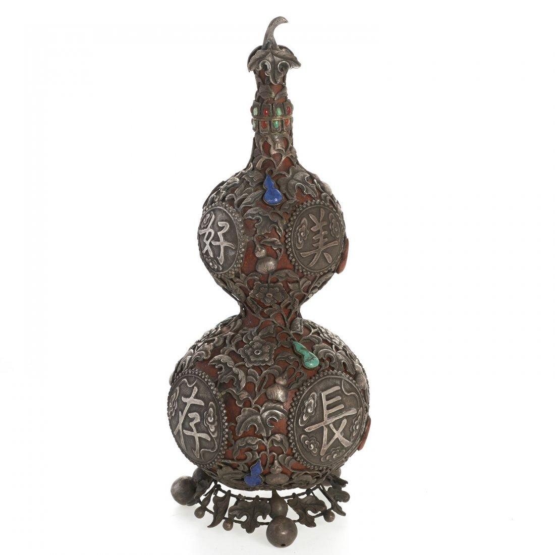 Sino-Tibetan silvered overlay double gourd vase - 2