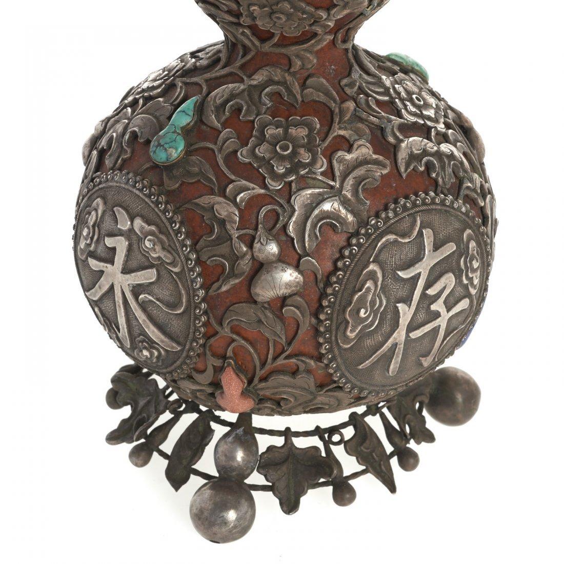 Sino-Tibetan silvered overlay double gourd vase - 4