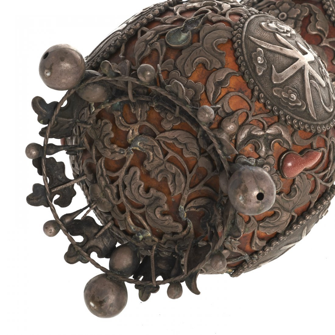 Sino-Tibetan silvered overlay double gourd vase - 7