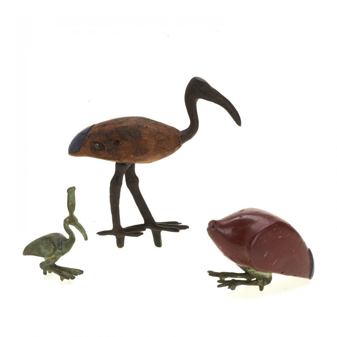 (3) Ancient Egyptian style wood and bronze ibis