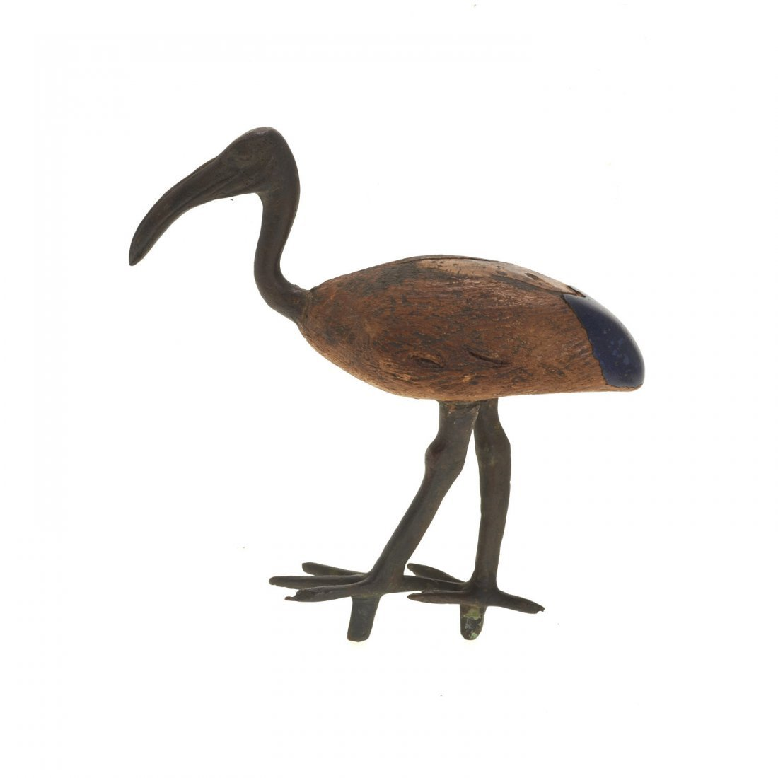 (3) Ancient Egyptian style wood and bronze ibis - 4