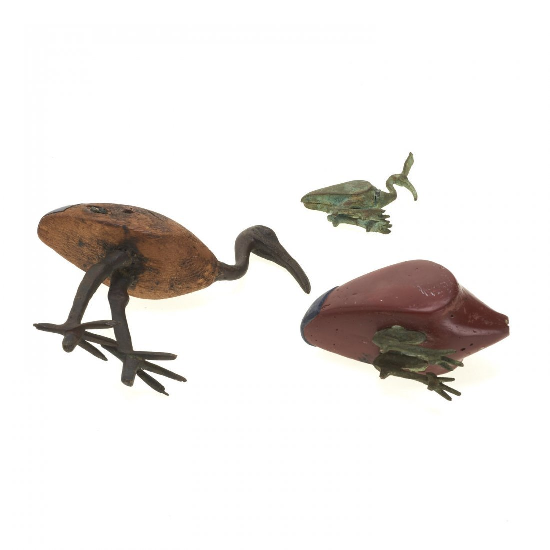 (3) Ancient Egyptian style wood and bronze ibis - 5
