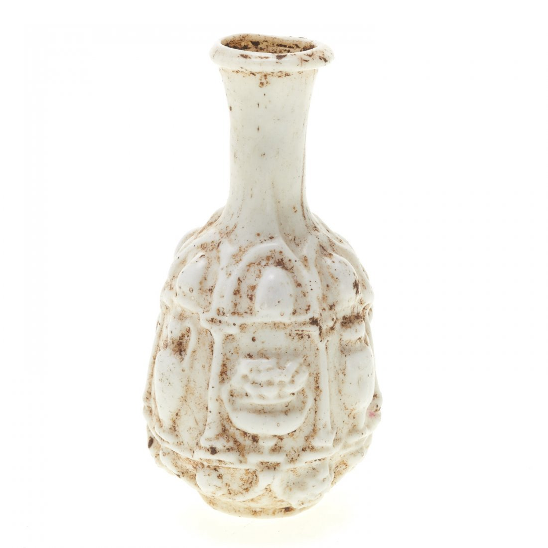 Ancient Roman molded white glass flask