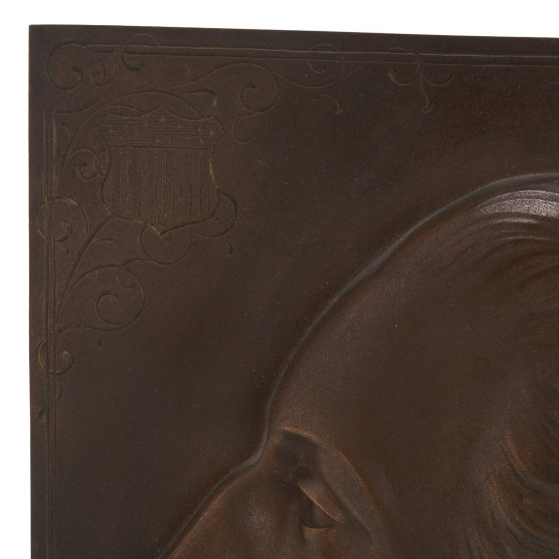 Bronze plaque of Washington, Henry Bonnard Foundry - 3