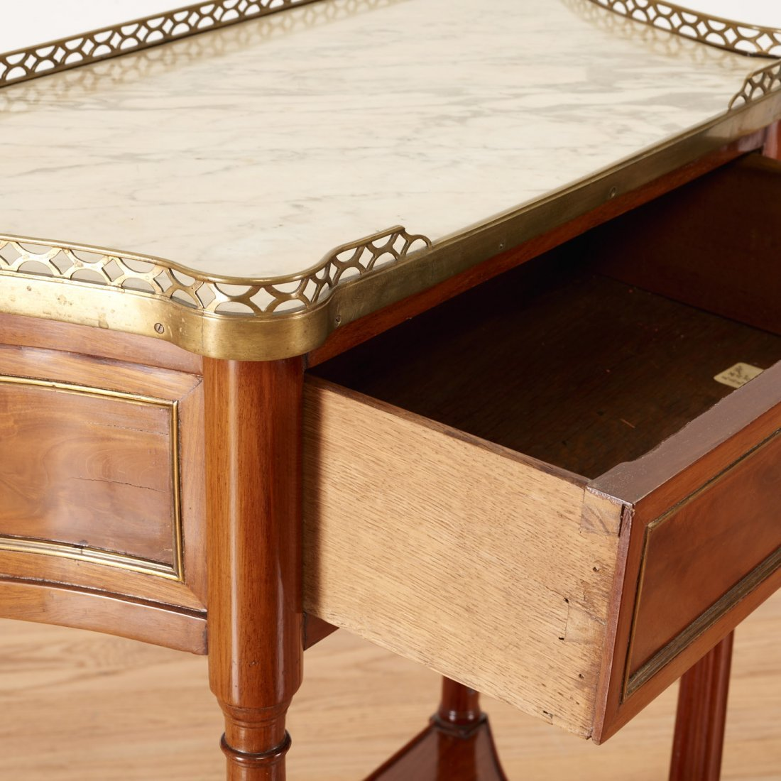 Louis XVI style brass mounted mahogany side table - 4