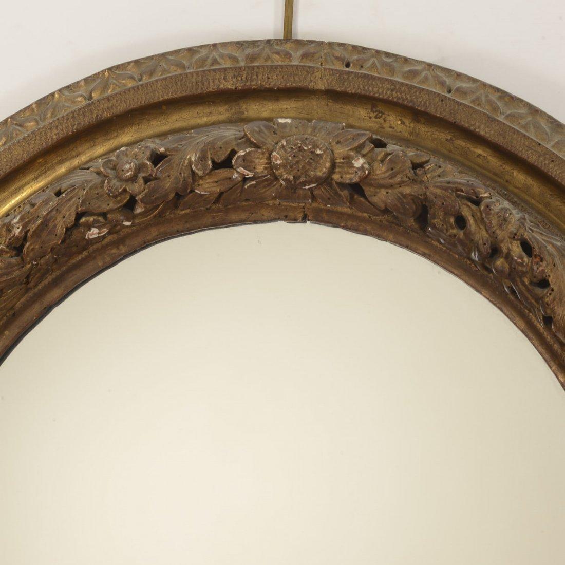 Continental Rococo giltwood oval wall mirror - 2