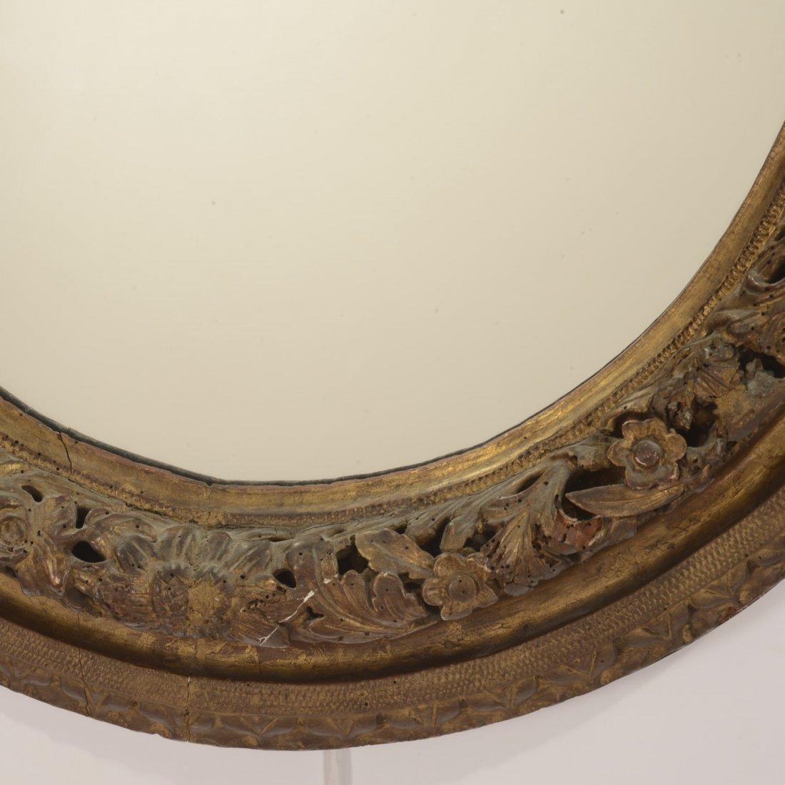 Continental Rococo giltwood oval wall mirror - 3