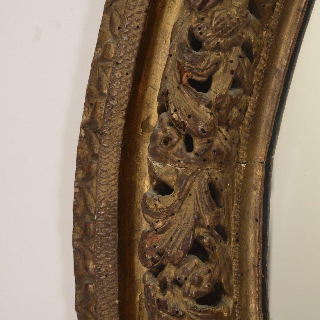Continental Rococo giltwood oval wall mirror - 4