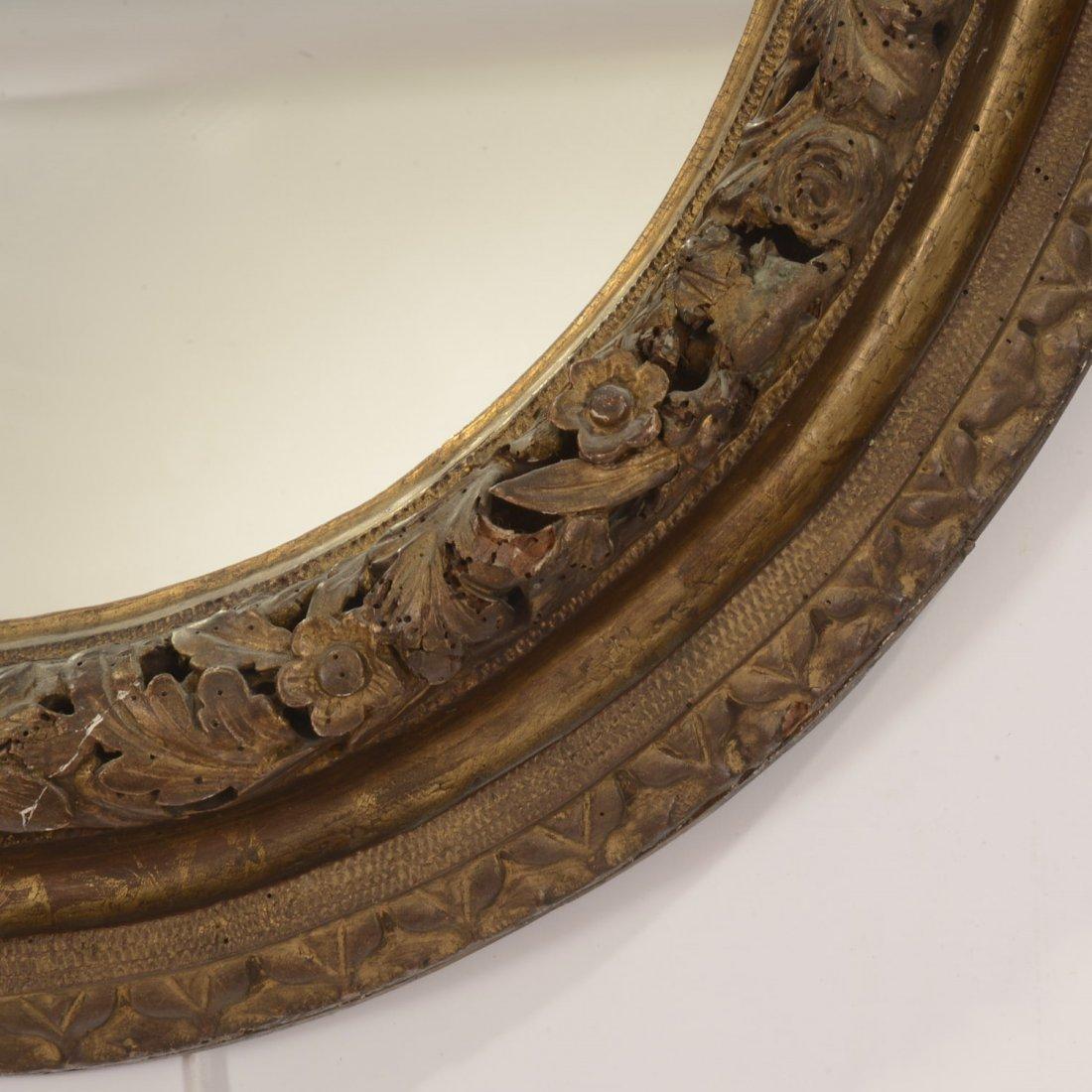 Continental Rococo giltwood oval wall mirror - 6