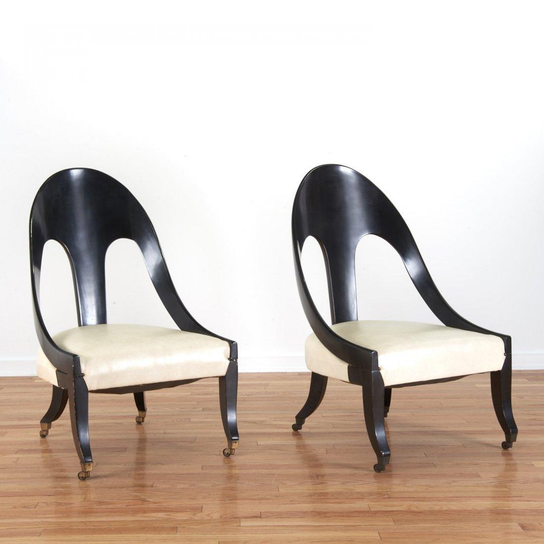 Pair Hollywood Regency spoon-back chairs