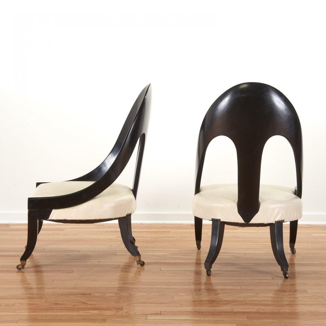 Pair Hollywood Regency spoon-back chairs - 2