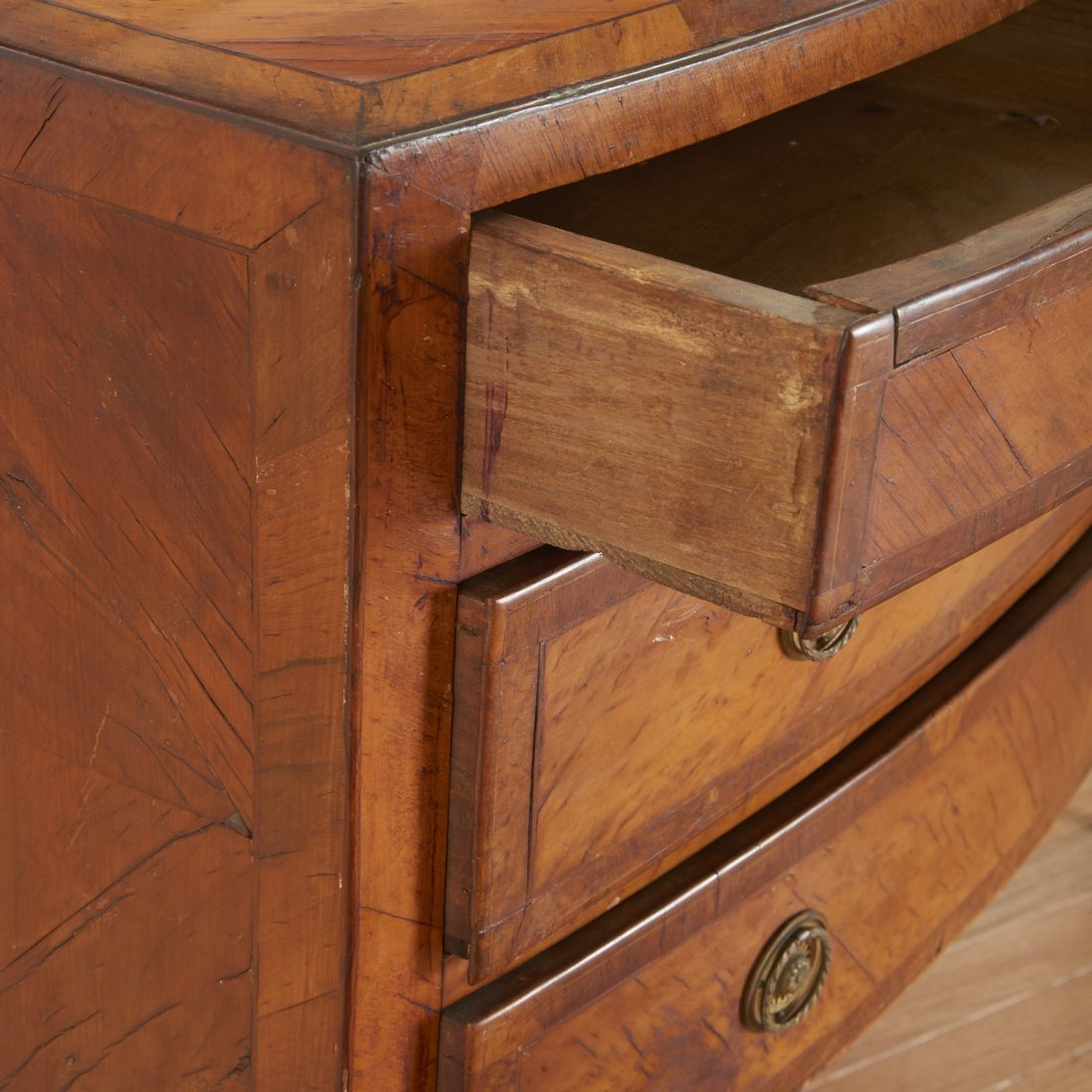 Pair Italian walnut parquetry bow front commodes - 2