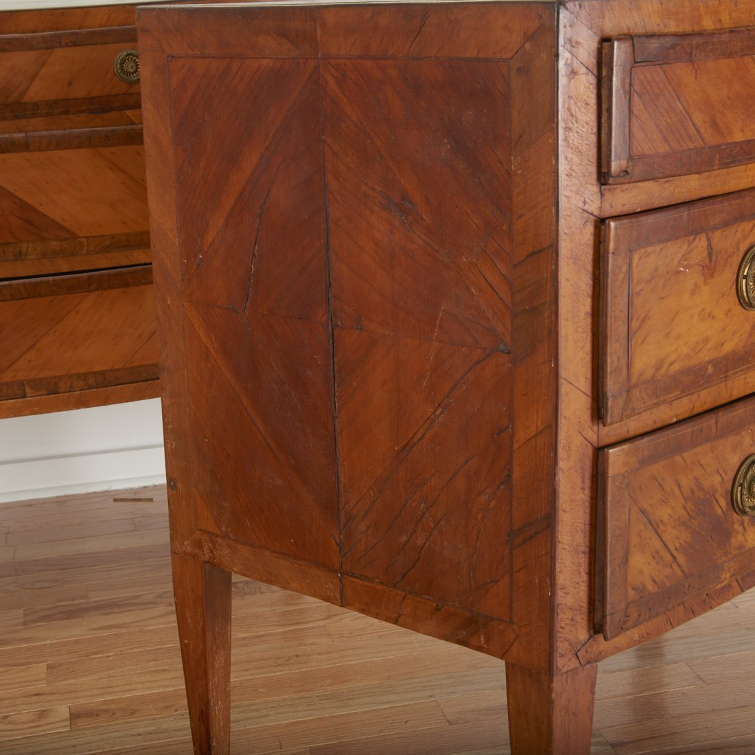 Pair Italian walnut parquetry bow front commodes - 3