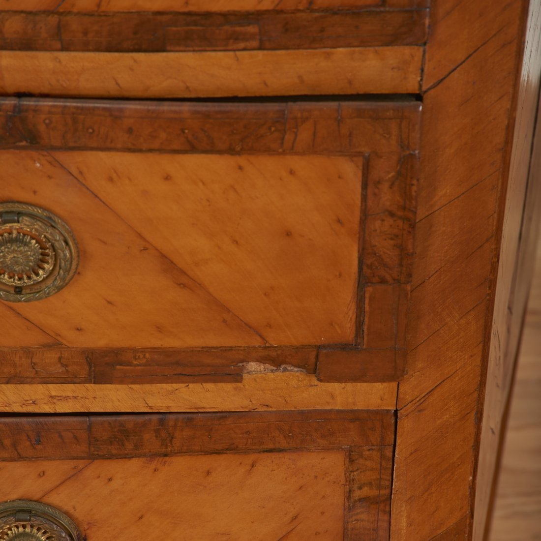 Pair Italian walnut parquetry bow front commodes - 6