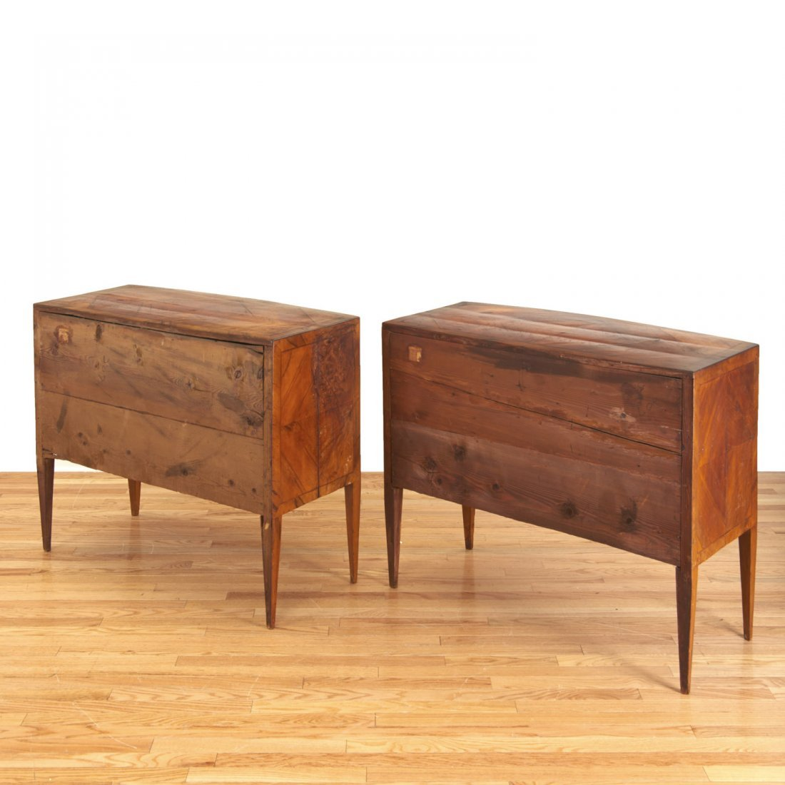 Pair Italian walnut parquetry bow front commodes - 7
