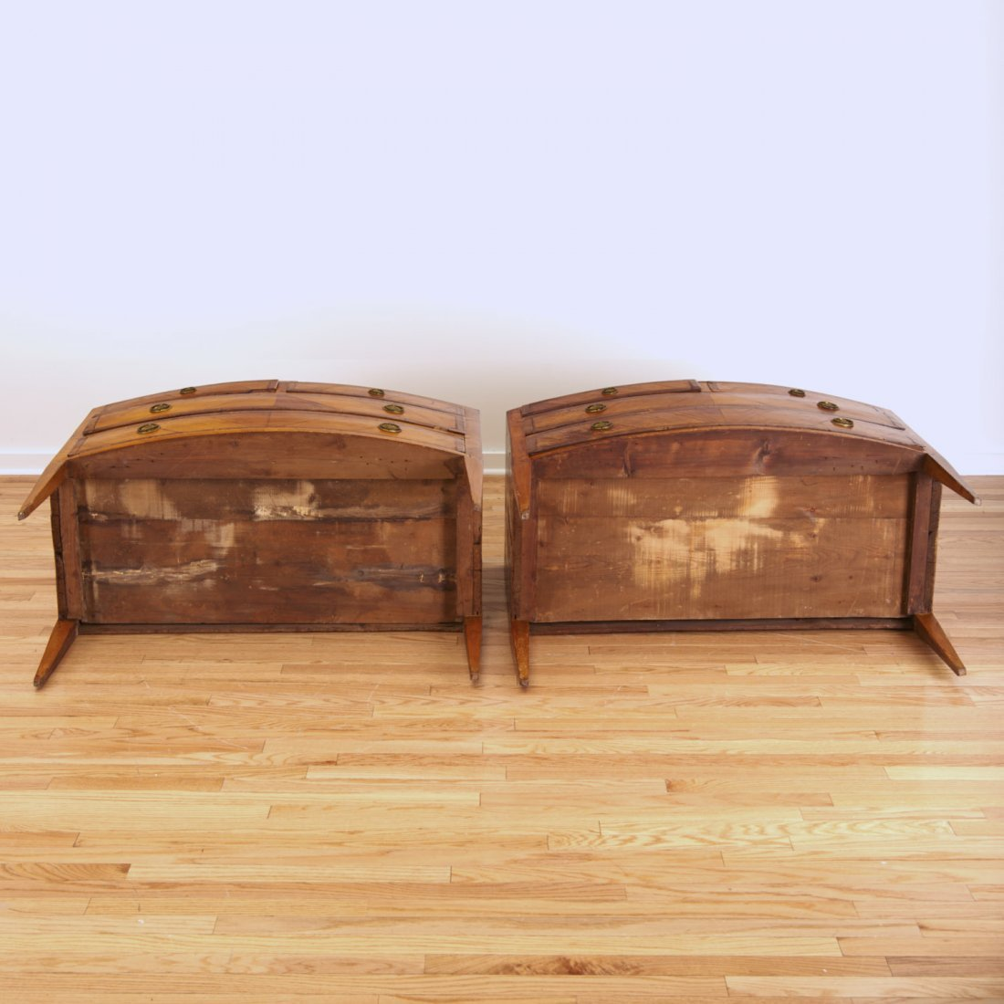 Pair Italian walnut parquetry bow front commodes - 9