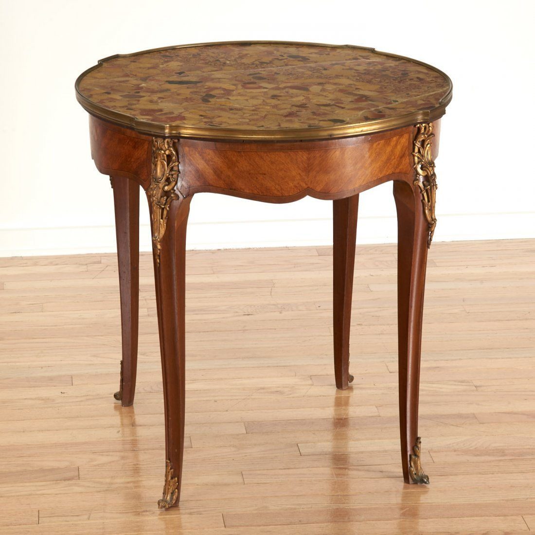 Louis XV style bronze mounted marble top table