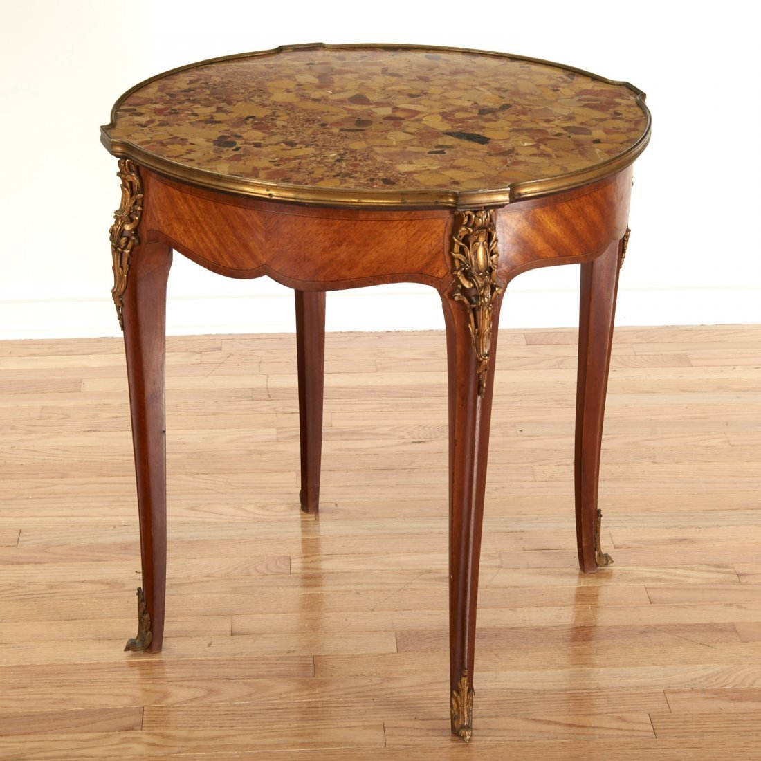 Louis XV style bronze mounted marble top table - 6