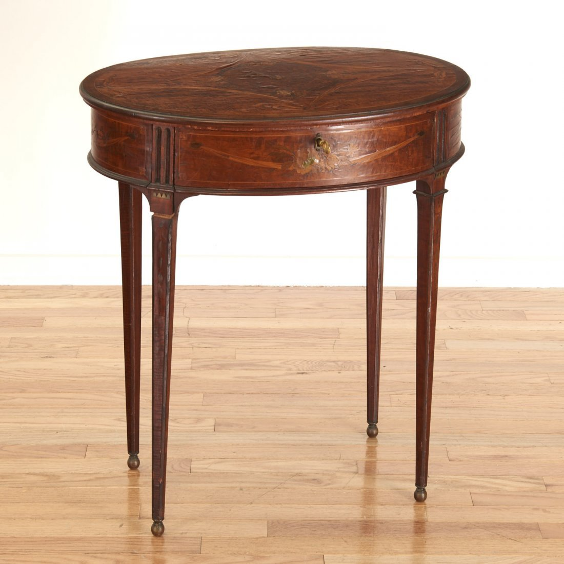 Continental Neo-Classical inlaid walnut side table