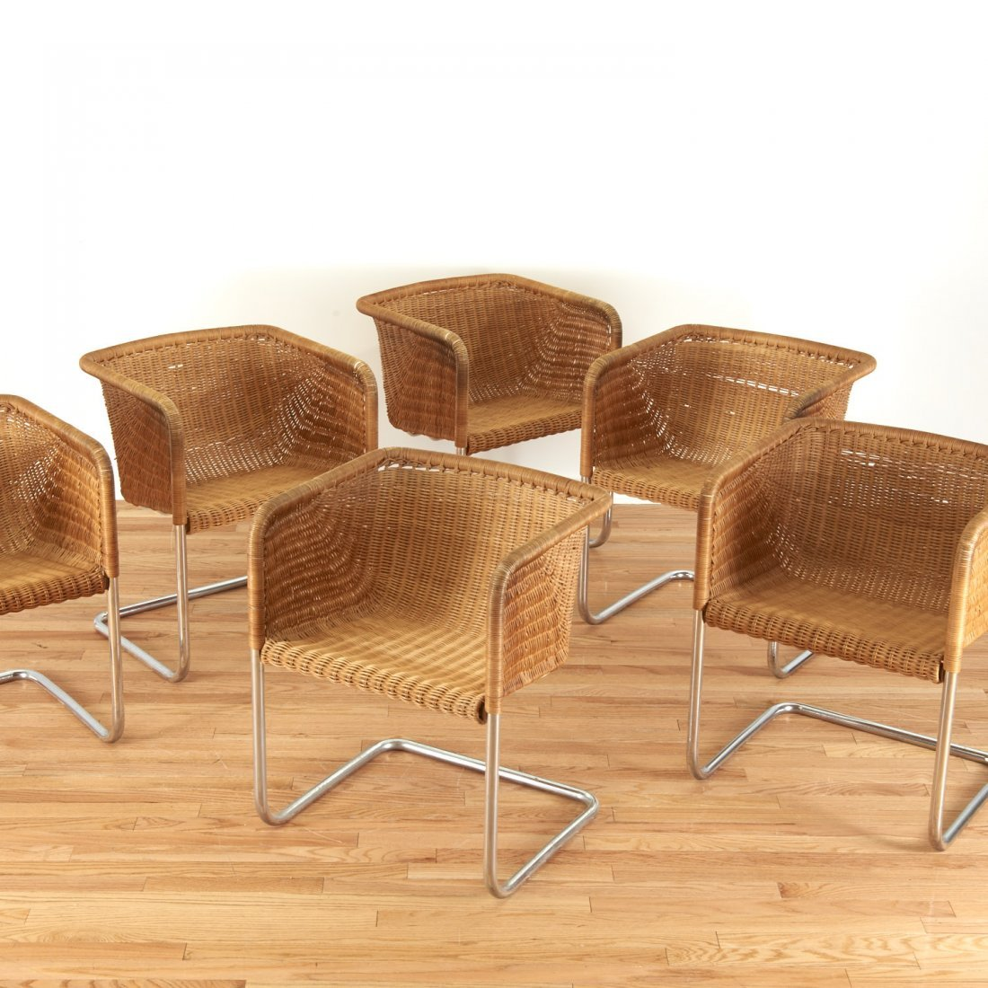 Set (6) wicker and chrome chairs by Harvey Probber