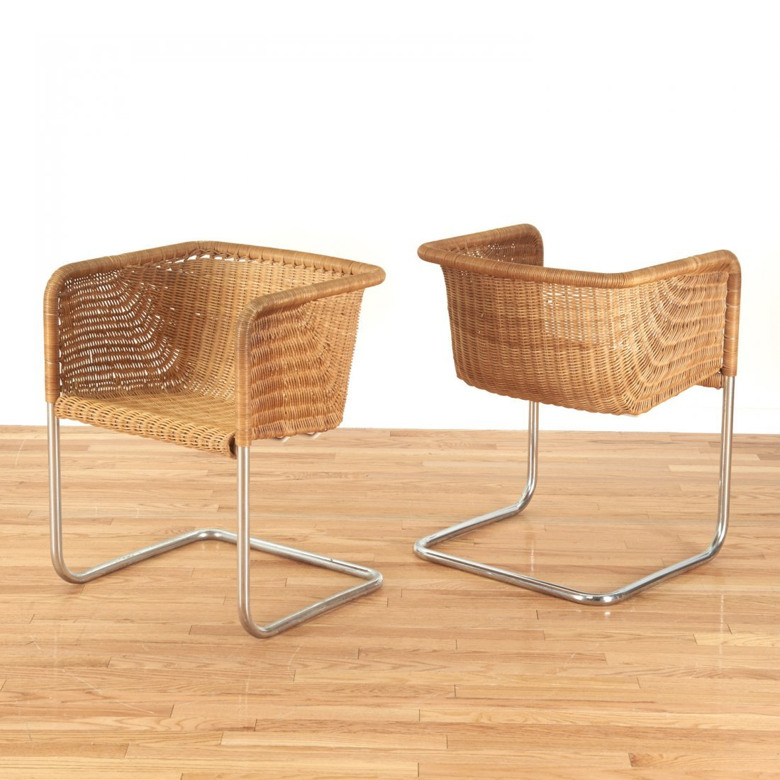 Set (6) wicker and chrome chairs by Harvey Probber - 2