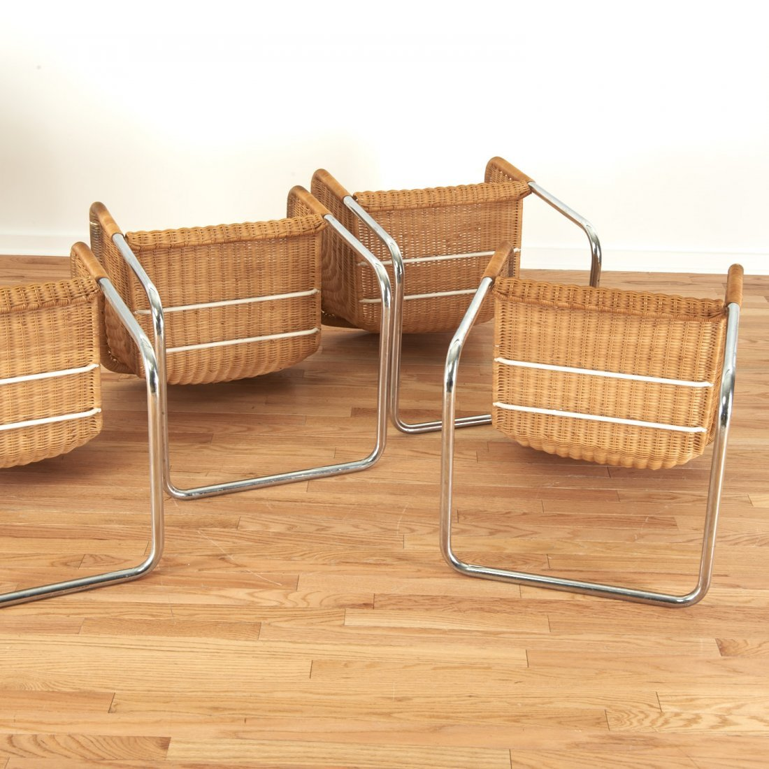 Set (6) wicker and chrome chairs by Harvey Probber - 6