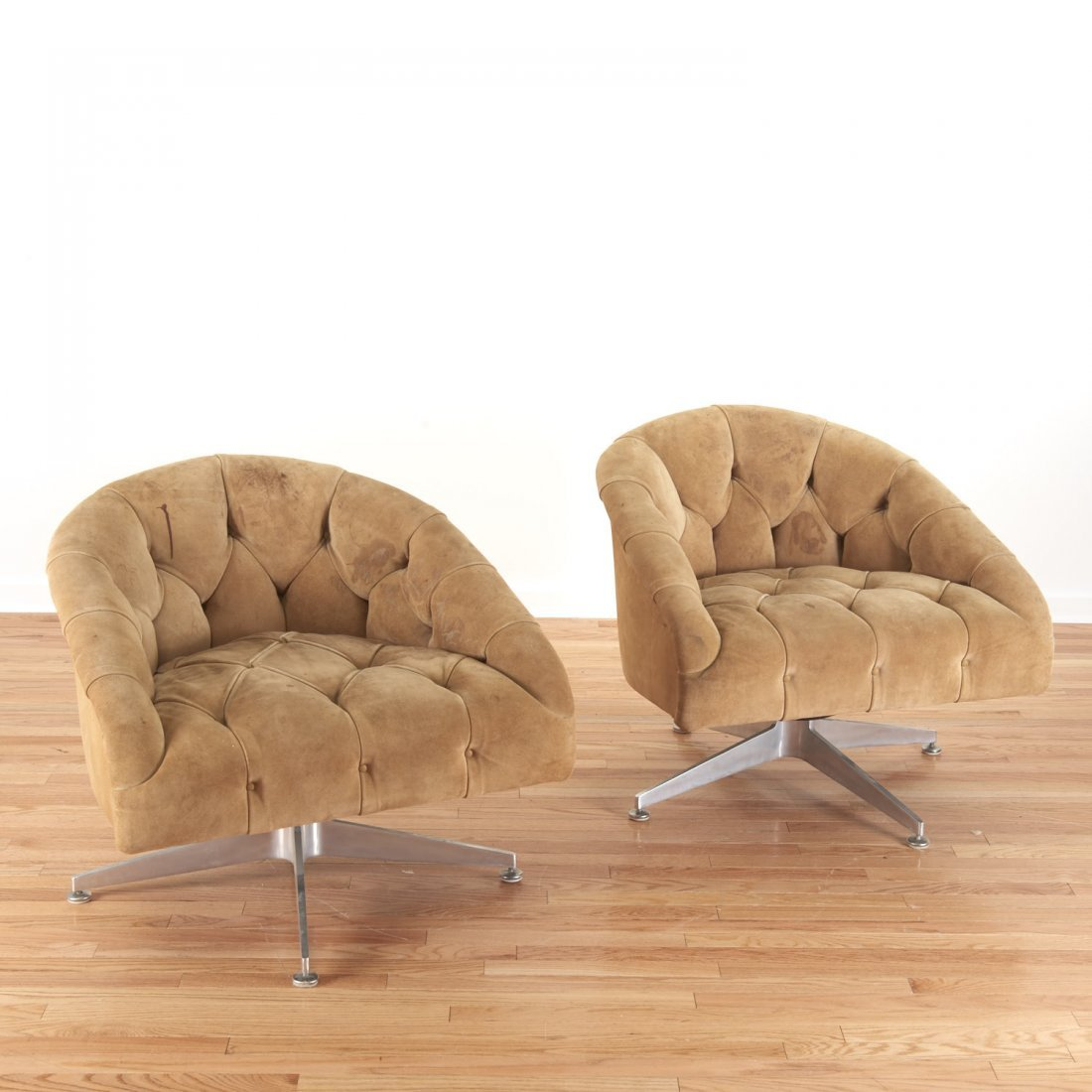 Pair Ward Bennett for Lehigh Leopold lounge chairs