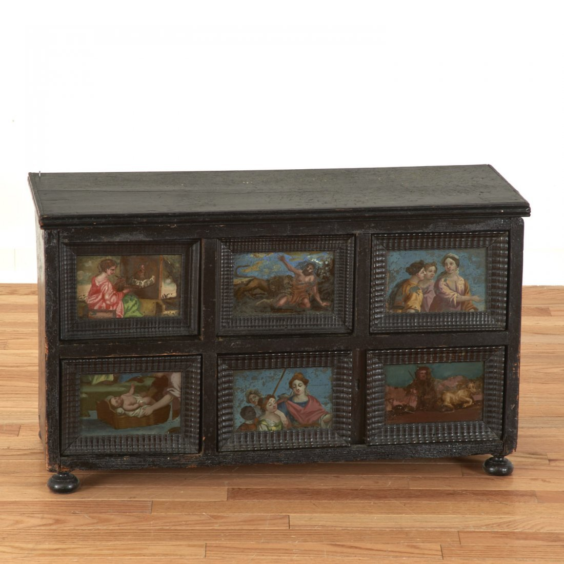 Continental ebonized and reverse painted cabinet