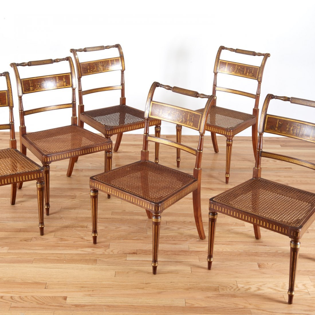 Fine set (6) American Federal gilt dining chairs