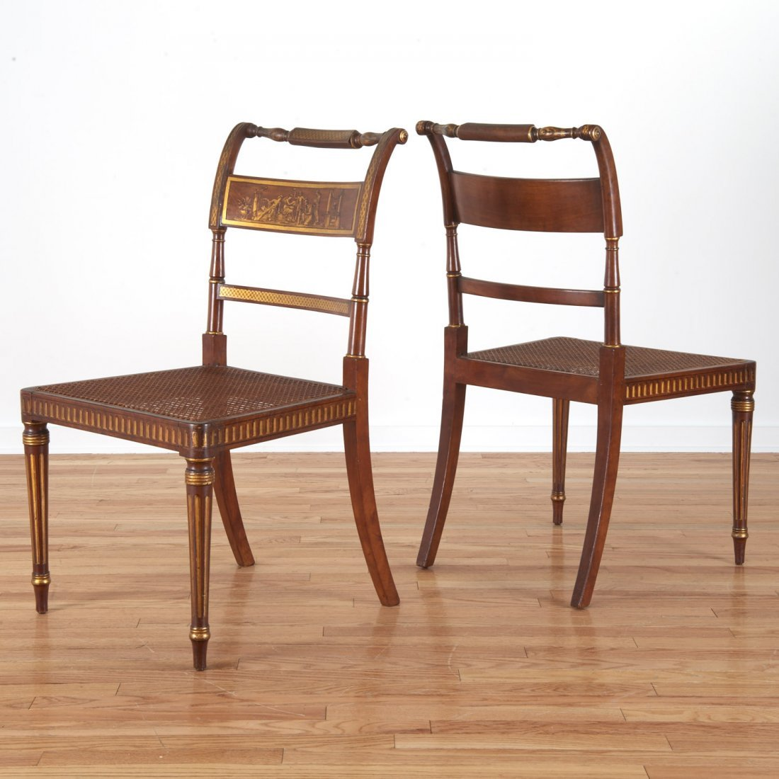 Fine set (6) American Federal gilt dining chairs - 2
