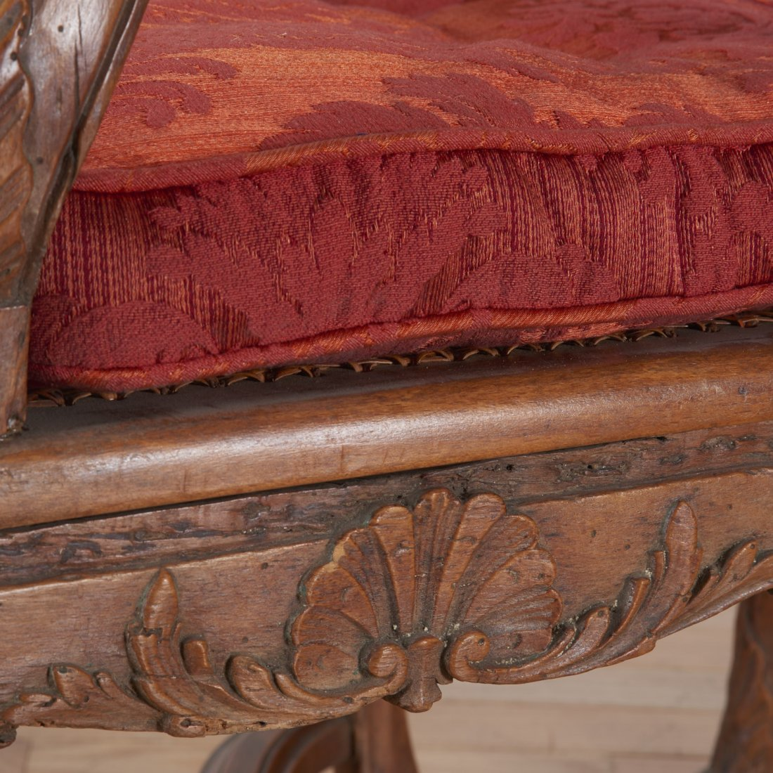 Pair Regence carved walnut open armchairs - 5