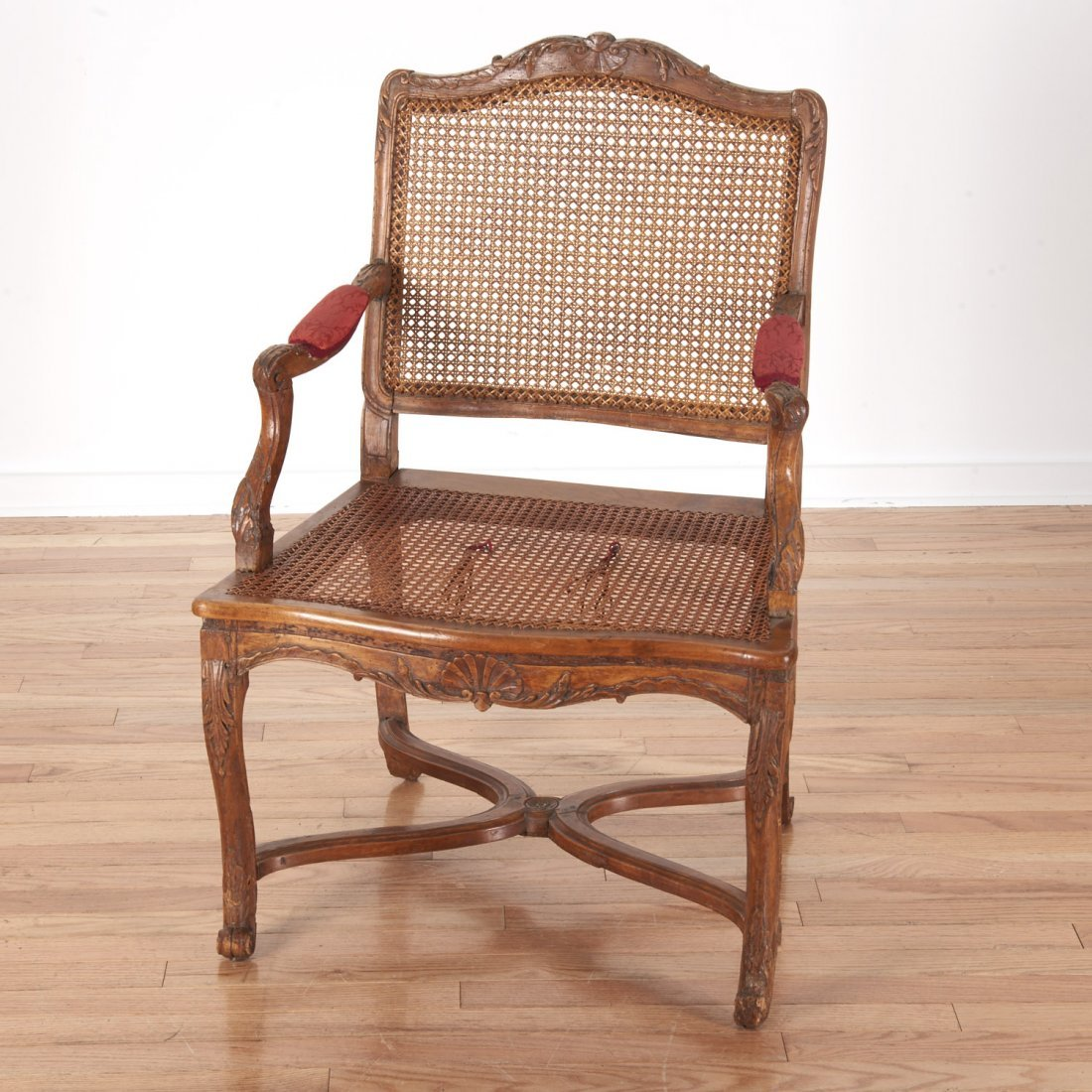 Pair Regence carved walnut open armchairs - 6