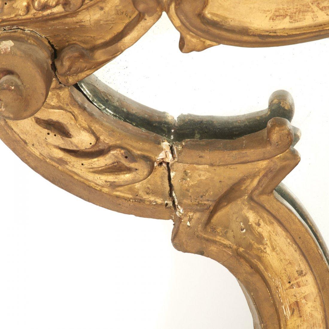 Italian Rococo giltwood wall mirror - 5