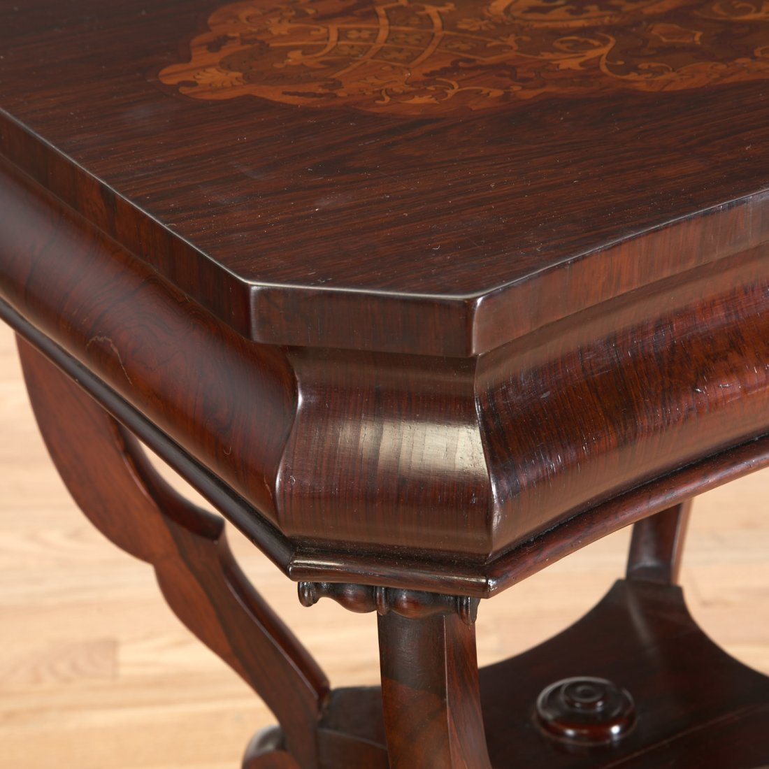 Continental marquetry inlaid work table - 3