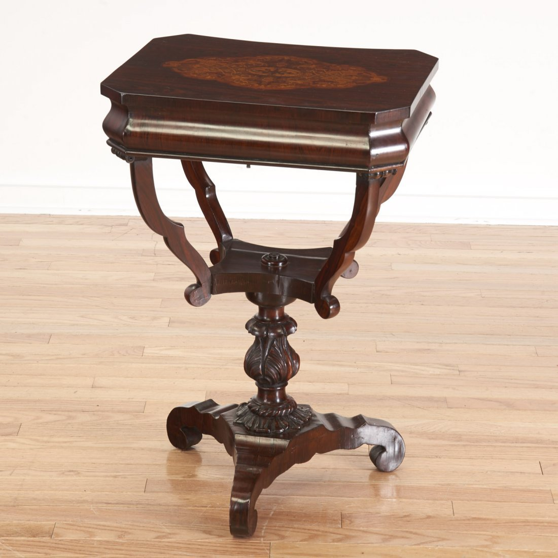 Continental marquetry inlaid work table - 4