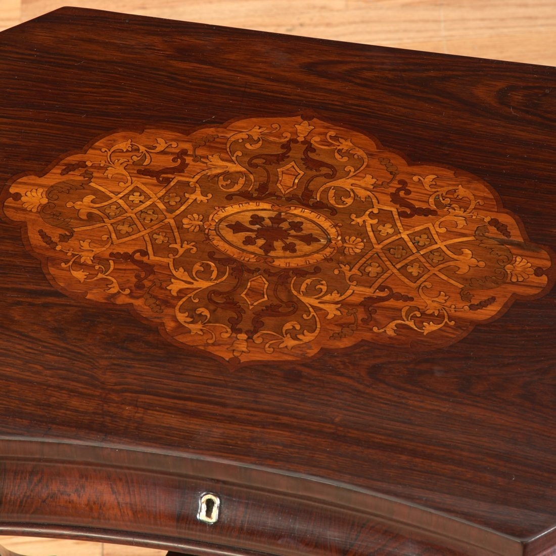 Continental marquetry inlaid work table - 7
