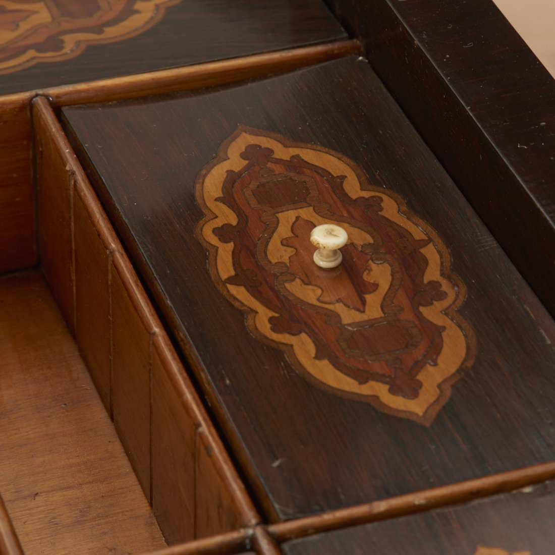 Continental marquetry inlaid work table - 9