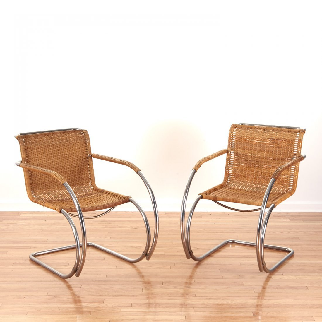"Pair Mies Van Der Rohe for Stendig ""MR-20"" chairs"